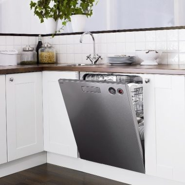 D5434SS Stainless Dishwasher in white kitchen