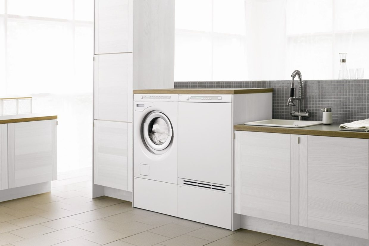 Washer and Dryer on pedestal drawers