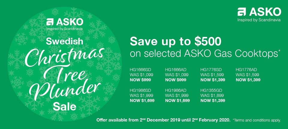 Save $500 on selected ASKO Gas CookTop