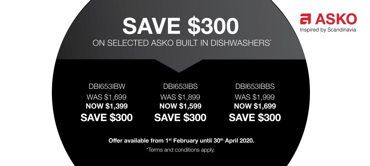 Save $300 o Selected Built in Asko Dishwasher