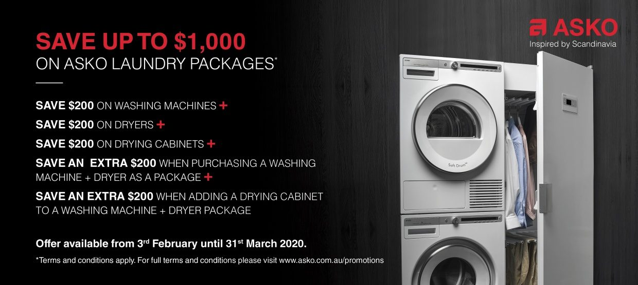 Save upto $1000 off on Selected Asko Laundry Package