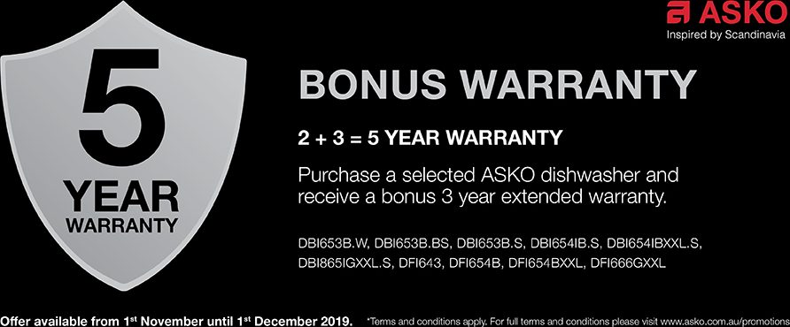 3 Years Extended Warranty on Selected ASKO Dishwasher