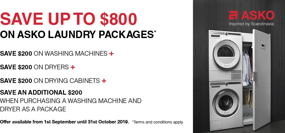 Save upto $800 on Selected ASKO laundry Products